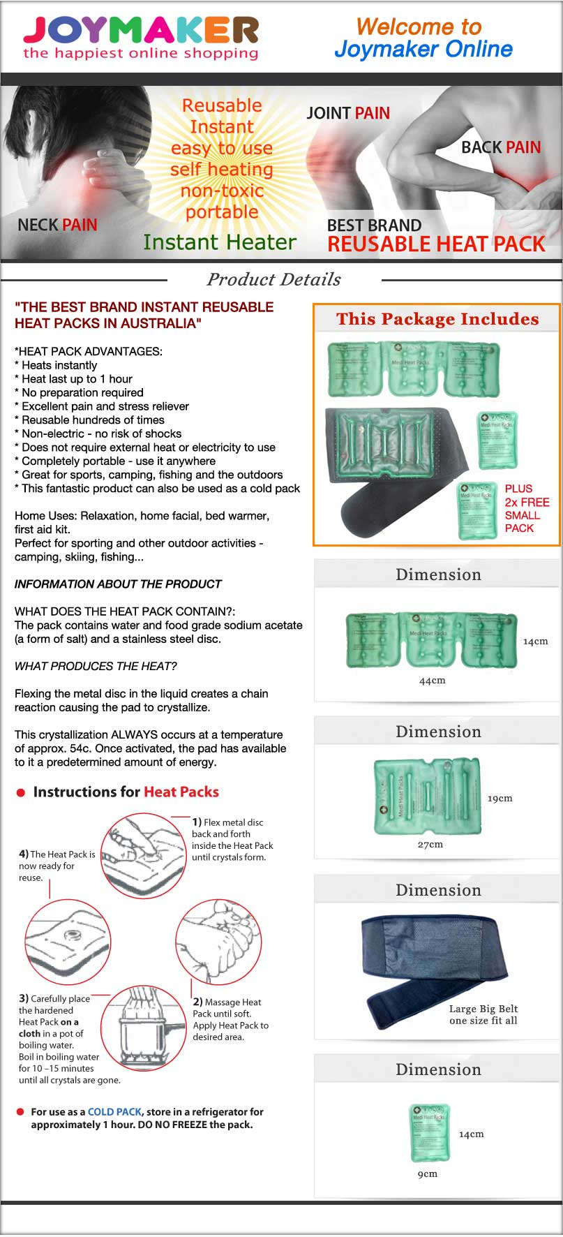 Reusable Button Heat Pack : New brand reusable heat pack family package for back
